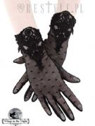 RESTYLE Ladies Gothic Black Dotted Lace Guipure Gloves | Gothic Accessories